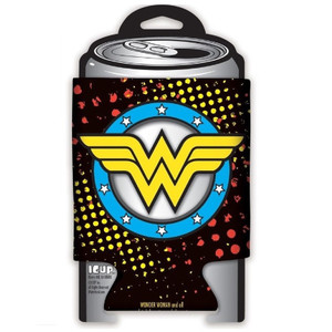Wonder Woman Insignia Diecut Punch Out Can Cooler Front View