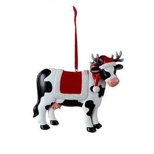 Christmas Cow Ornament - saddle blanket