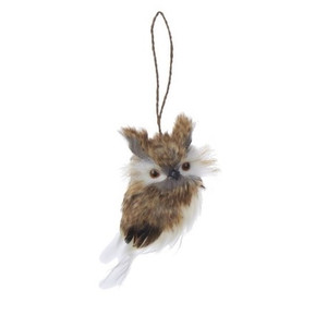 Feathery Owl Ornaments - horned