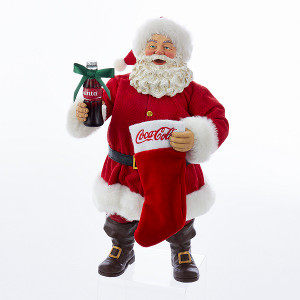 Fabriche Santa with Coke Bottle & Stocking Figure