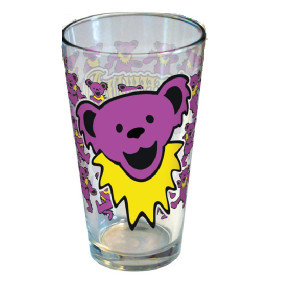 Grateful Dead Purple Dancing Bear Head Pint Glass