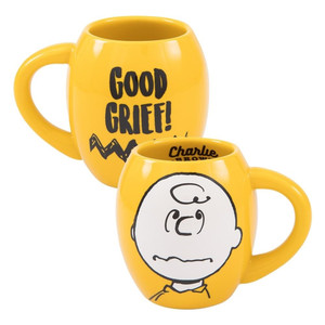 Charlie Brown Yellow 18 oz Oval Cocoa Mug Duel View