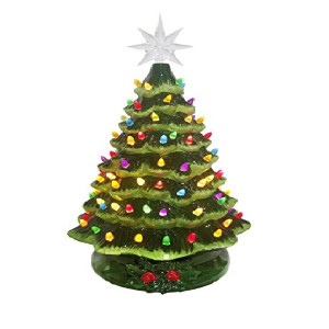 "20"" Green Ceramic Christmas Tree With Music Unpackaged View"