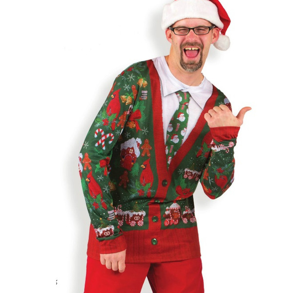 Ugly Christmas Sweater Cardigan with Tie - Printed Shirt ...