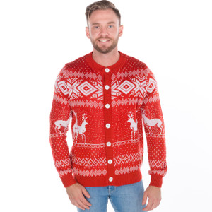 Reindeer Games - Ugly Christmas Cardigan - Red 4