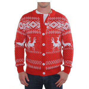 Reindeer Games - Ugly Christmas Cardigan - Red