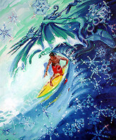"""WINTER: Mighty Neptune casts his cloak and spear above the roaring surf.   His gesture creates the endless lines of waves. """"Winter"""" By Ron Croci is a 20"""" x 24"""" Oil Painting on Wood Panel and is part of a series titled """"The Four Seasons In Surfing"""" which includes Summer, Fall, Winter, and Spring."""