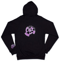 Black zipper front American Apparel Hoodie with purple 9th Wave Gallery Logo - Back View