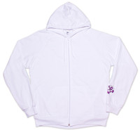 9th Wave Hoodie White with Purple Logo