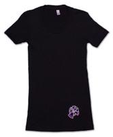 Black American Apparel Women's Tee Shirt with purple 9th Wave Gallery Logo.