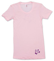 Pink American Apparel Women's Tee Shirt with purple 9th Wave Gallery Logo.