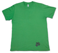 Green American Apparel Men's Tee Shirt with purple 9th Wave Gallery Logo.