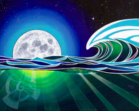 The moon has a large impact on the ocean, creating large tidal changes throughout the world. During the full moon phase, those changes are at their greatest, and also aiding in larger waves.