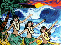 Three Hula Girls By Drew Toonz
