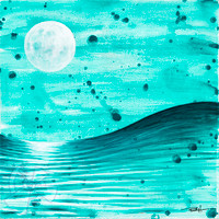 The moon's magnetism dances with the oceans creating a constant push and pull of tides and swell. Spend enough time in the ocean and you'll connect with that magnetism. Original painted with acrylics on wood.