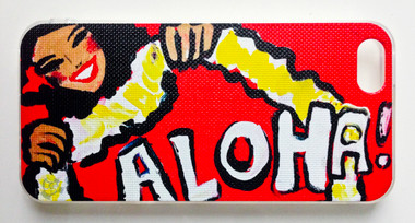 "This ""Red Aloha"" iPhone 5 case by Drew Toonz is part of our brand new 9th Wave Gallery Limited Edition iPhone 5 cell case series we just released in collaboration with Simma Creative - Island Brand. Features a unique new texture that gives the feeling of canvas just like the original artwork. The durable clear base protects your phone if dropped by utilizing a special shock resistant flexible soft case. The artwork is also protected with a long lasting UV coating that prevents fading from prolonged exposure to the sun."
