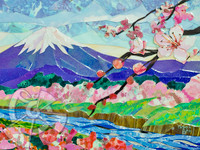 Part of a new collage series of Japanese Sakura Blossom inspired by and created during Patricks most recent trip to Japan in the Spring of 2014. Every spring the Sakura trees flower all across Japan in a beautiful display of millions of cherry blossoms. Astounded by the beauty of the sights and smells of the Sakura season Patrick was also inspired to create this series during a visit to the Sato Sakura Museum in Nakameguro, Tokyo where he was influenced by by the great Japanese masters including Katsushika Hokusai.