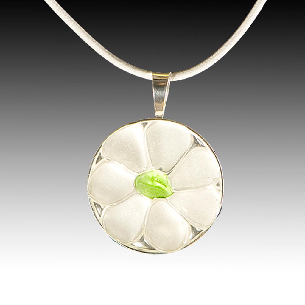 Clear Petals & Lime Center Beach Glass Pendant