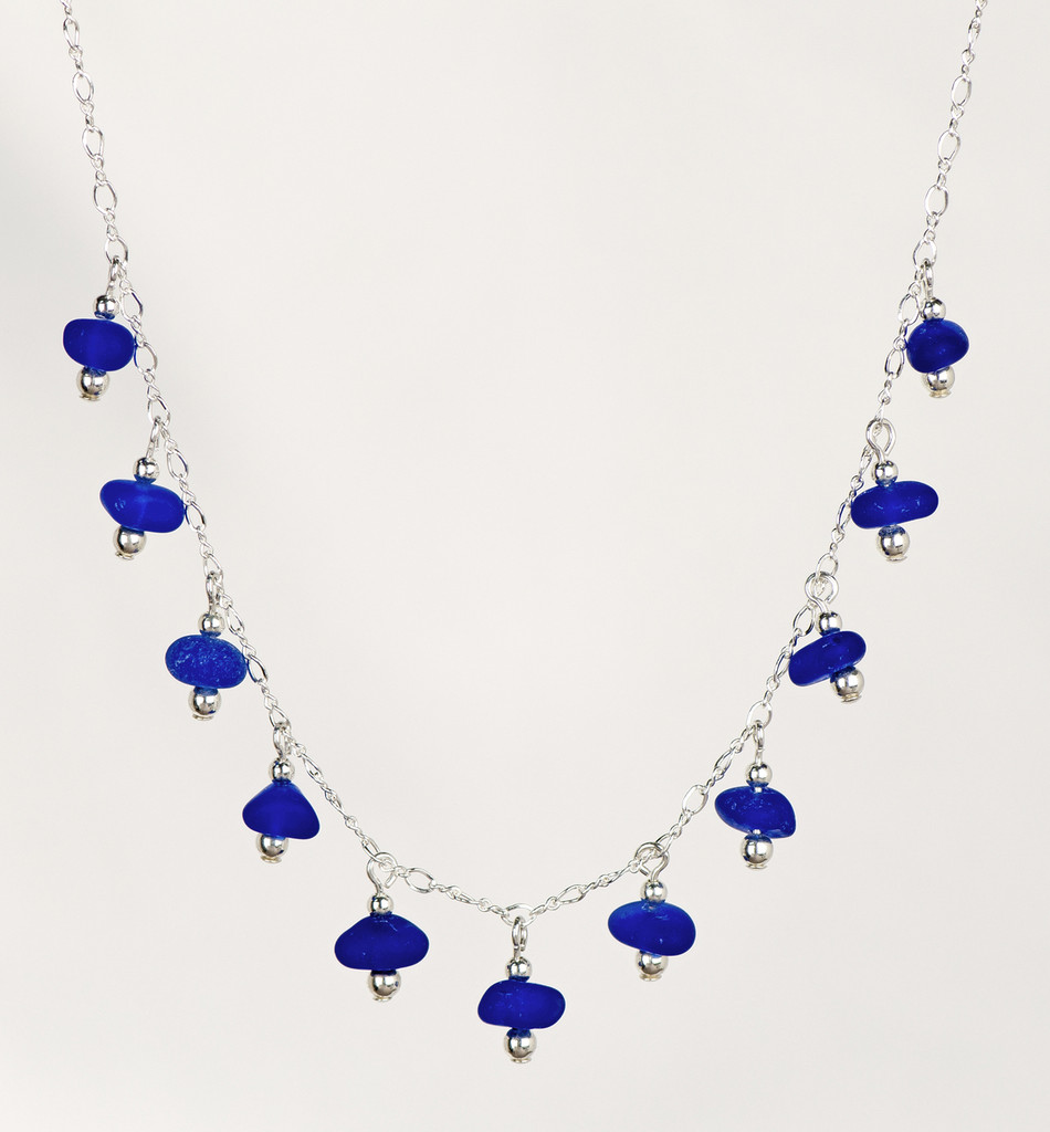 Cobalt Sea Glass Dangle Trad