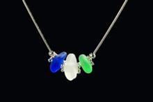 Three Stone Snake Sea Glass Necklace