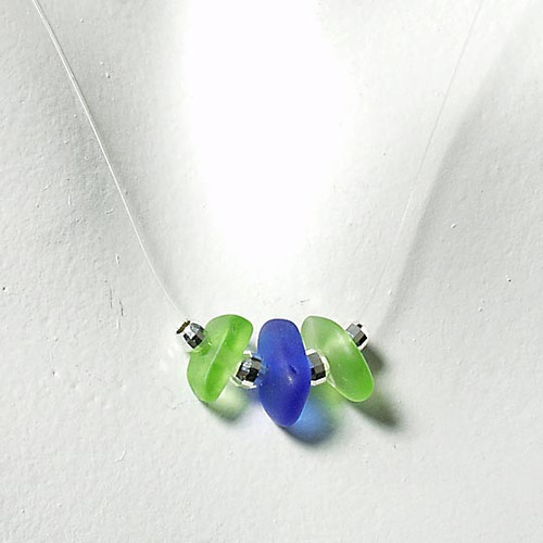 Lime & Cobalt Tri-Glass Illusion Necklace