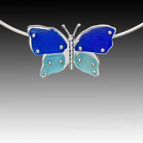 Aqua & Cobalt Beach Glass Butterfly Necklace