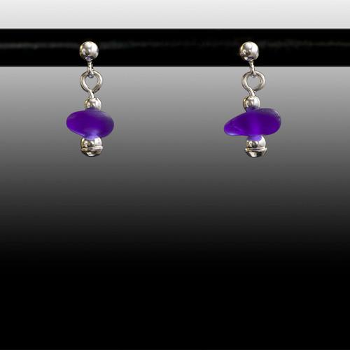 Cobalt Sea Glass Ball Post Earrings