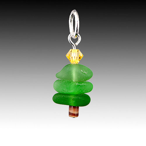 Sterling silver and genuine found sea glass stacked charm.