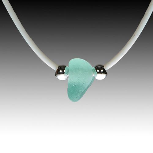 """Seafoam sea glass on white rubber necklace, 16"""""""