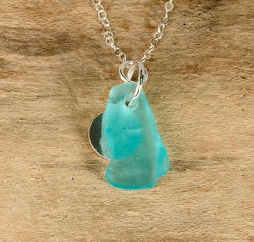 Aqua Sea Glass & Sterling Silver Charm Necklace