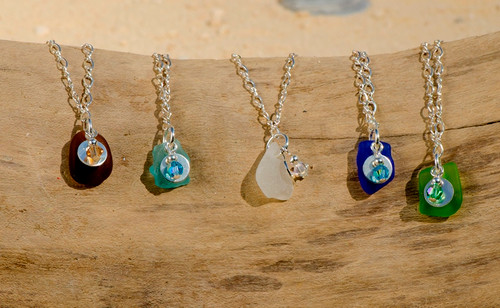 Beach Glass & Swarovski Crystal Charm Bracelets