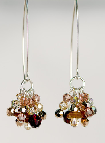 Genuine Brown Beach Glass & Swarovski Crystal Earrings