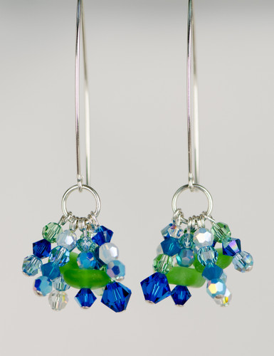 Green Sea Glass & Swarovski Crystal Earrings
