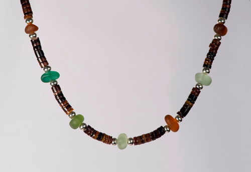 Men's Beach Glass and Penshell Bead Necklace