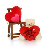 2ft Vanilla Cream Teddy Bear Tiny Tubs with Red Heart Pillow