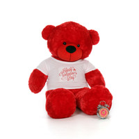 60in Bitsy Cuddles Giant Red Teddy Bear in Happy Valentine's Day Shirt