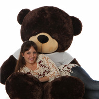72in Brownie Cuddles Giant Chocolate Brown Teddy Bear in Cute Happy Valentine's Day T-Shirt