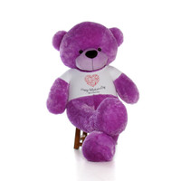 72in DeeDee Cuddles Purple Huge Teddy Bear in Swirling Heart Happy Valentine's Day Shirt
