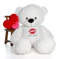 6ft Coco Cuddles White Giant Teddy Bear wearing a Let's Kiss T-Shirt for Valentine's Day