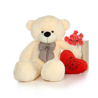 5ft Vanilla Cream Giant Teddy Bear with XOXO plush heart