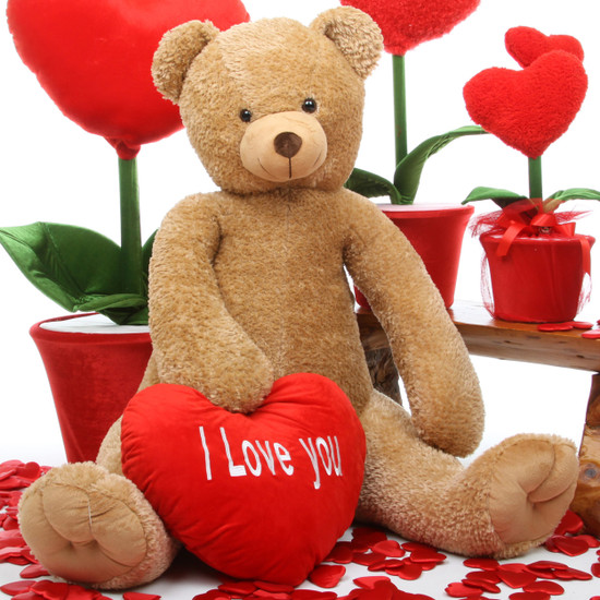 Honey Heart Tubs amber brown teddy bear with heart 42in