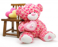 Rosette Big Love cosmic pink cream teddy bear 42in