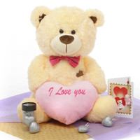 He Loves Me! Bear Hug Care Package featuring BooBoo Shags Cream 27in