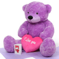 Giant True Love Bear Hug Care Package DeeDee Cuddles purple teddy bear 48in