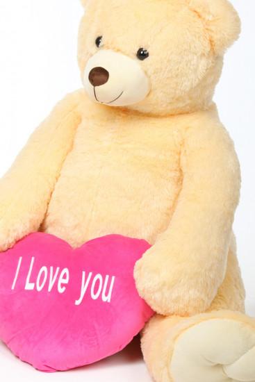 Tiny Heart Tubs cream jumbo teddy bear with pink I Love You heart 52in