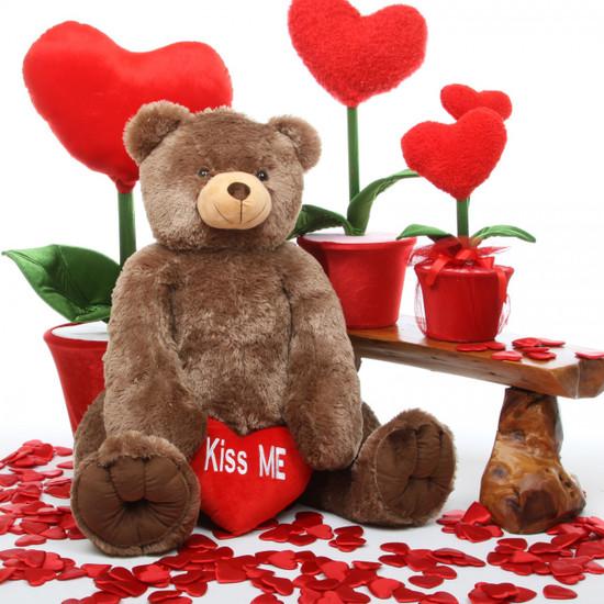 Sweetie Heart Tubs mocha brown teddy bear with Kiss Me heart 42in