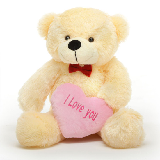 Cozy L Cuddles Vanilla Teddy Bear with I Love You Heart 30in