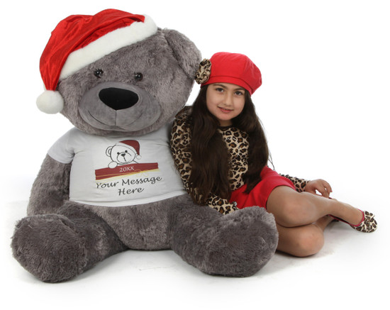 Make Christmas Personal and Special with Diamond Shags big personalized teddy bear in red Santa hat, 45in