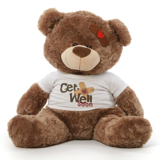 "35"" Get Well Soon Teddy Bear, Mocha Brown"