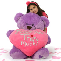 3 1/2ft Purple Valentine's Day Teddy Bear Sewsie Big Love – She loves you THIS Much!